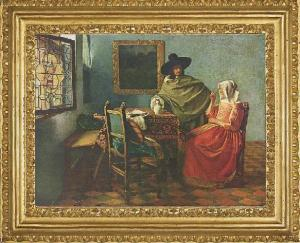"""Caballero y dama tomando vino"", (1658-1660)."
