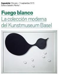 """Cartel de la exposición """"Fuego Blanco"""", en el Museo Nacional Centro de Arte Reina Sofía."""