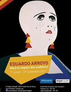 """Cartel de la exposición """"Eduardo Arroyo. Para Mantener la Tradición""""."""